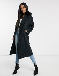 Helene Berman Double Breasted Oversized Coat With Faux Fur Collar Black