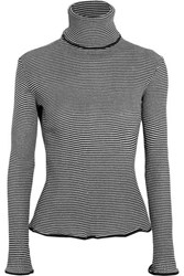 Keji Metallic Striped Cotton Blend Turtleneck Sweater Black