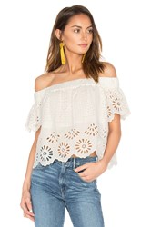 Sea Eyelet Off The Shoulder Top White