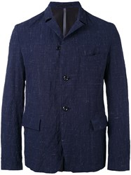 Attachment Textured Blazer Men Cotton Hemp Linen Flax Wool L Blue