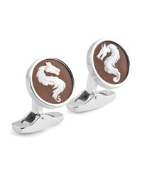 Ermenegildo Zegna Cameo Dragon Cuff Links W Seashell Brown