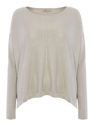 Label Lab Square Oversized Knit With Raw Seams Light Grey