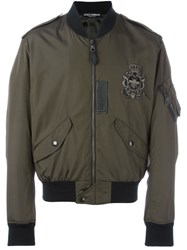 Dolce And Gabbana Embellished Patch Bomber Jacket Green