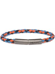 Prada Braided Leather Wrist Strap Blue