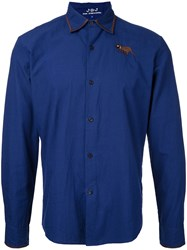 Jupe By Jackie Embroidered Figure Shirt Blue