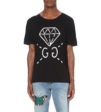 Gucci Trevor Diamond Cotton Jersey T Shirt Black Printed