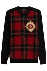 Balmain Printed Merino Wool Pullover With Embellished Motif Red