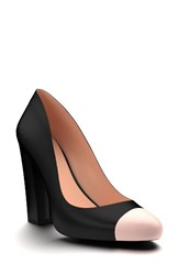 Shoes Of Prey Women's Cap Toe Block Heel Pump Black Leather