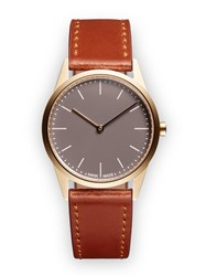 Uniform Wares C33 Women's Two Hand Watch In Pvd Satin Gold With Tan Cordovan Red
