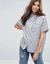 Vila Stripe Short Sleeve Shirt 031 Blue