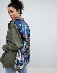 Bershka Sequined Cargo Jacket In Khaki Green