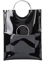 Toga Pulla Circle Handle Tote Bag Women Vinyl One Size Black