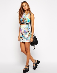 Jaded London Mini Skirt In Holographic Ice Print Co Ord Multi