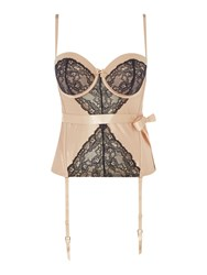 Marie Meili Yvette Satin Lace Bustier Sand