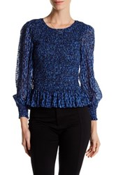 Rebecca Taylor Long Sleeve Ruched Silk Blend Blouse Multi