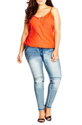 City Chic Plus Size Women's Crossover Bubble Hem Camisole Carrot