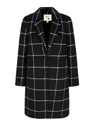Yumi Check Print Tailored Coat Black