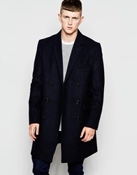 French Connection Long Double Breasted Coat Navy