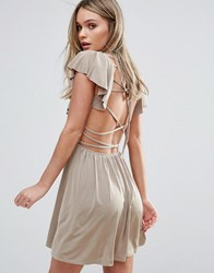 Oh My Love Frill Skater Dress With Strappy Back Mink Pink