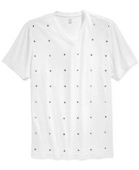 Inc International Concepts Joaquin Studded V Neck T Shirt Only At Macy's White Pure