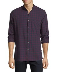 Civil Society Plaid Tab Collar Button Front Shirt Purple