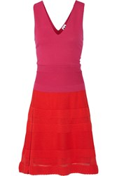 M Missoni Color Block Crochet Knit Cotton Blend Dress Pink