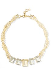 Bounkit Gold Tone Bead And Crystal Necklace Yellow