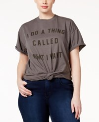 Hybrid Trendy Plus Size Cotton What I Want Graphic T Shirt Charcoal