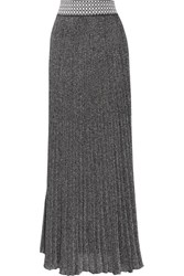 Missoni Pleated Metallic Crochet Knit Maxi Skirt Silver