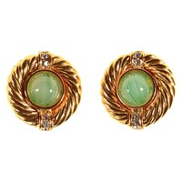 Alice Joseph Vintage 1980S Givenchy Gold Plated Diamante And Glass Stone Stud Earrings Gold Pale Green