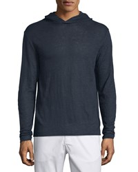 Theory Colton Hooded Long Sleeve Linen Tee Eclipse Men's