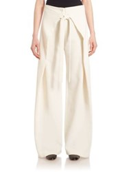 Proenza Schouler Flared Trousers With Front Flaps Off White Black
