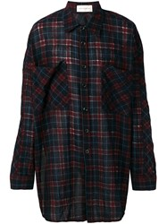 Faith Connexion Checked Oversized Shirt Red
