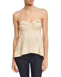 Isabel Marant Sweep Striped Spaghetti Strap Top Neutral Neutral Pattern
