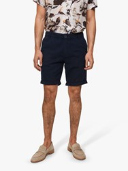 Selected Homme Linen Cotton Shorts Navy