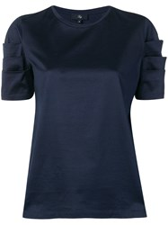 Fay Short Sleeve Fitted Blouse Blue