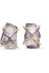 Melissa Joy Manning 14 Karat Gold Iolite Earrings Gold Lilac