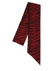 Saint Laurent Mini Zebra Printed Silk Scarf Rouge