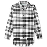 Off White Diagonals Spray Check Shirt White