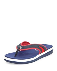 Tommy Bahama Jaxsen Suede Thong Sandal Navy Red