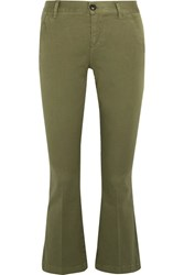 Frame Crop Cotton Blend Flared Pants Army Green