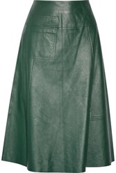 Raoul Leather Midi Skirt Forest Green