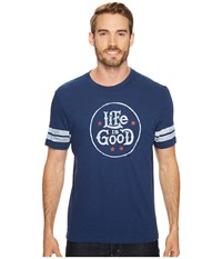 Life Is Good R Star Stamp Vintage Sport Tee Darkest Blue Men's Short Sleeve Pullover