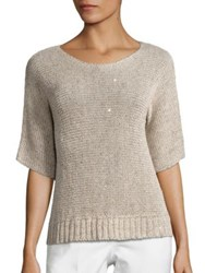 Peserico Sequined Knit Sweater Natural