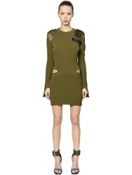 Versus Knit Dress W Slits And Velcro Patches