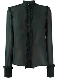 Amen Ruffled Detail Sheer Shirt Green