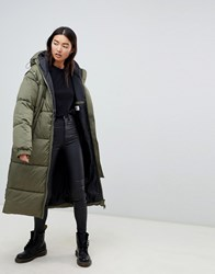 Cheap Monday Long Line Padded Coat With Detachable Sleeves Protest Green