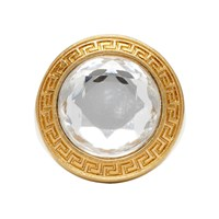 Versace Gold And Transparent Round Crystal Medusa Ring