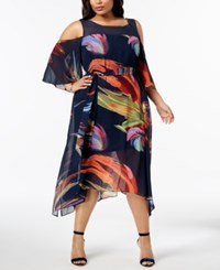 Robbie Bee Plus Size Printed Cold Shoulder Dress Navy