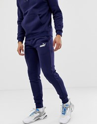 Puma Essentials Skinny Fit Sweatpants In Navy Navy